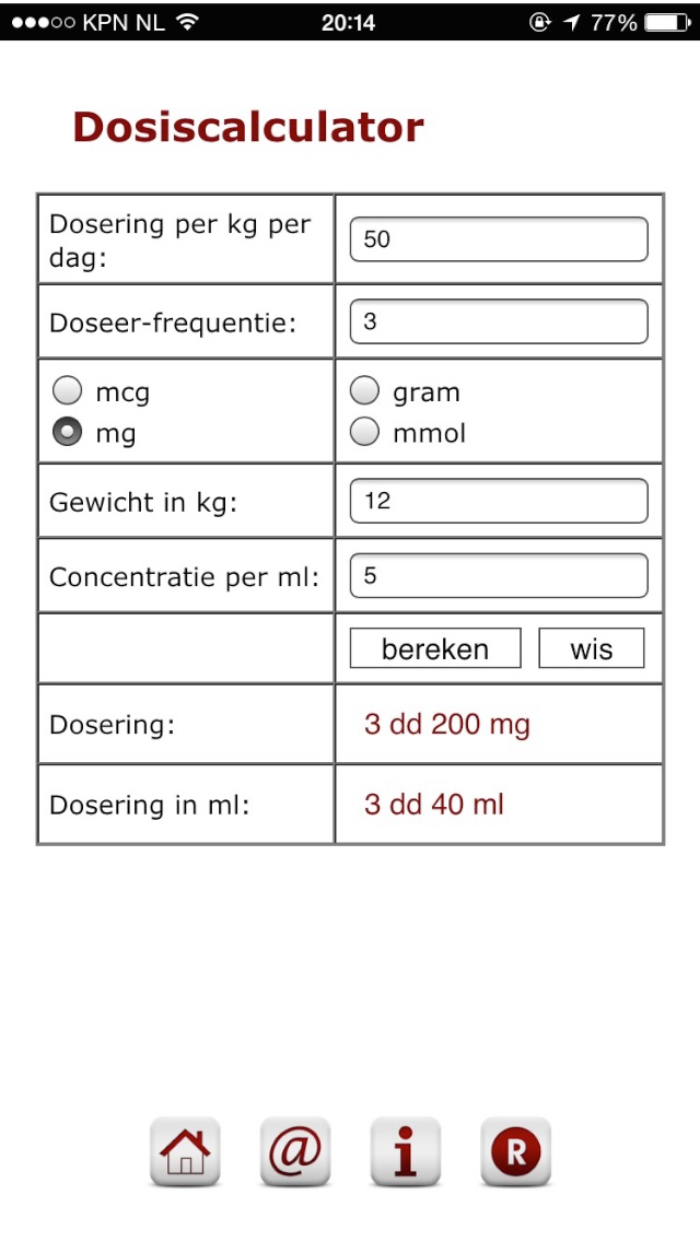 screenshot dosiscalculator voor kinderartsen
